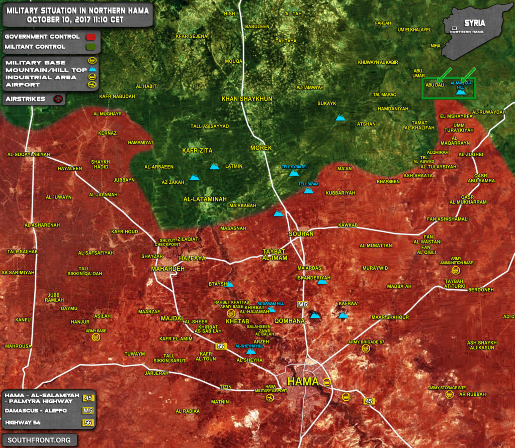 Military Situation In Northern Hama On October 10, 2017 (Map Update)