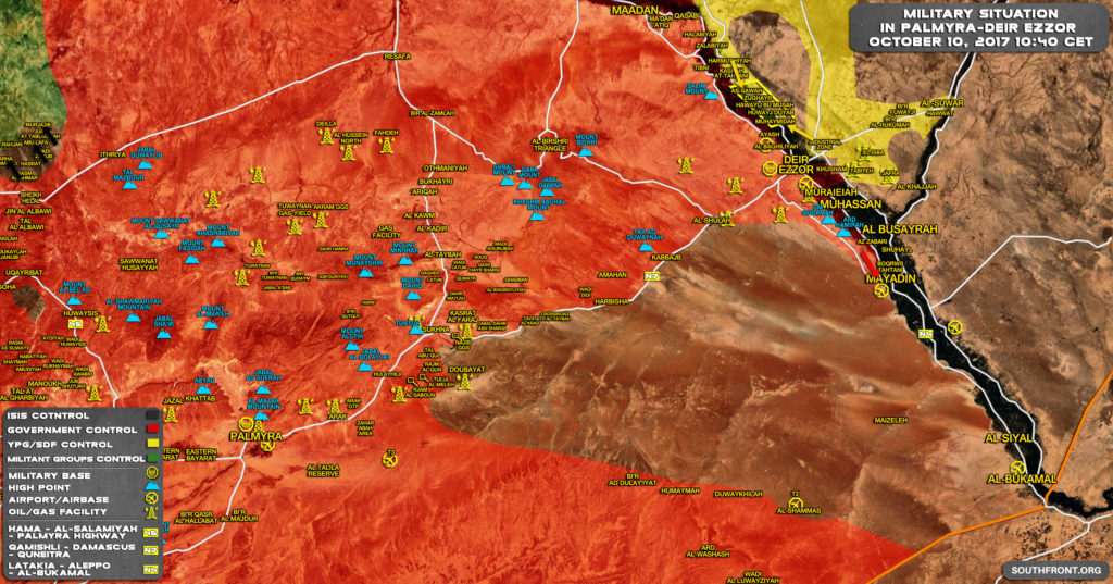 Military Situation In Central Syria On October 10, 2017 (Map Update)
