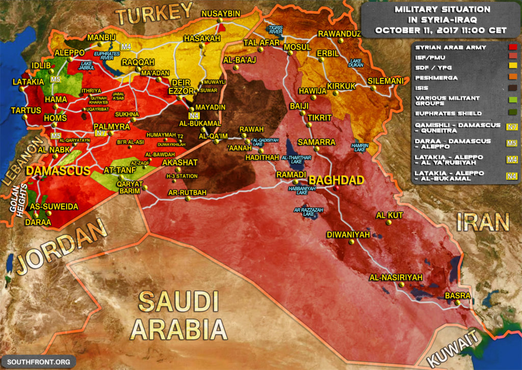 Military Situation In Syria And Iraq On October 11, 2017 (Map Update)
