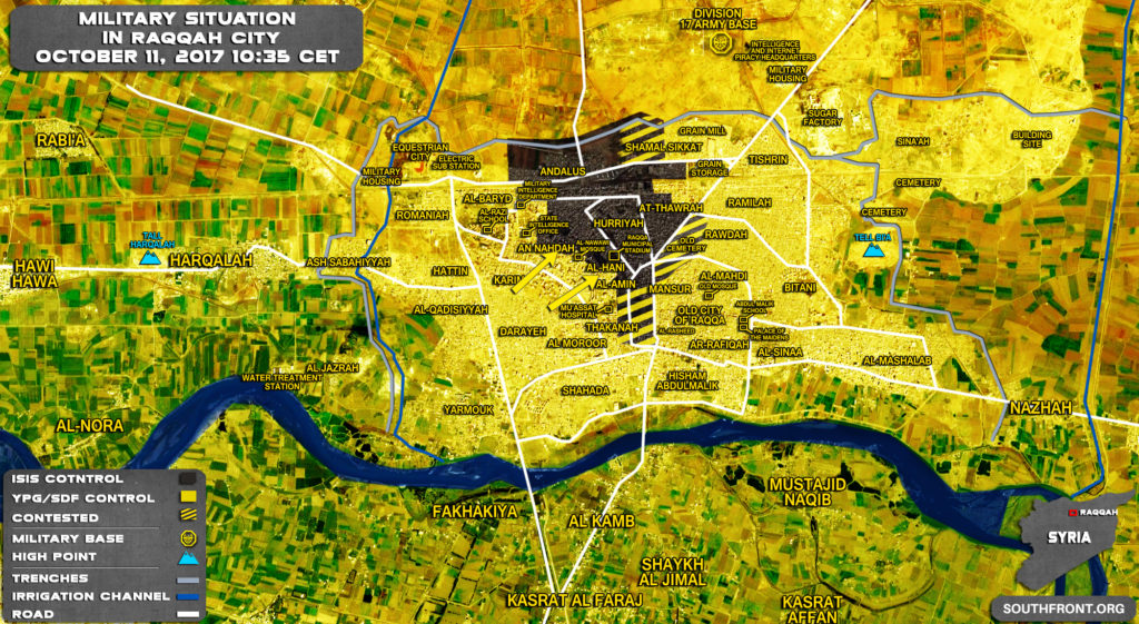 Military Situation In Syrian City Of Raqqah On October 11, 2017 (Map)