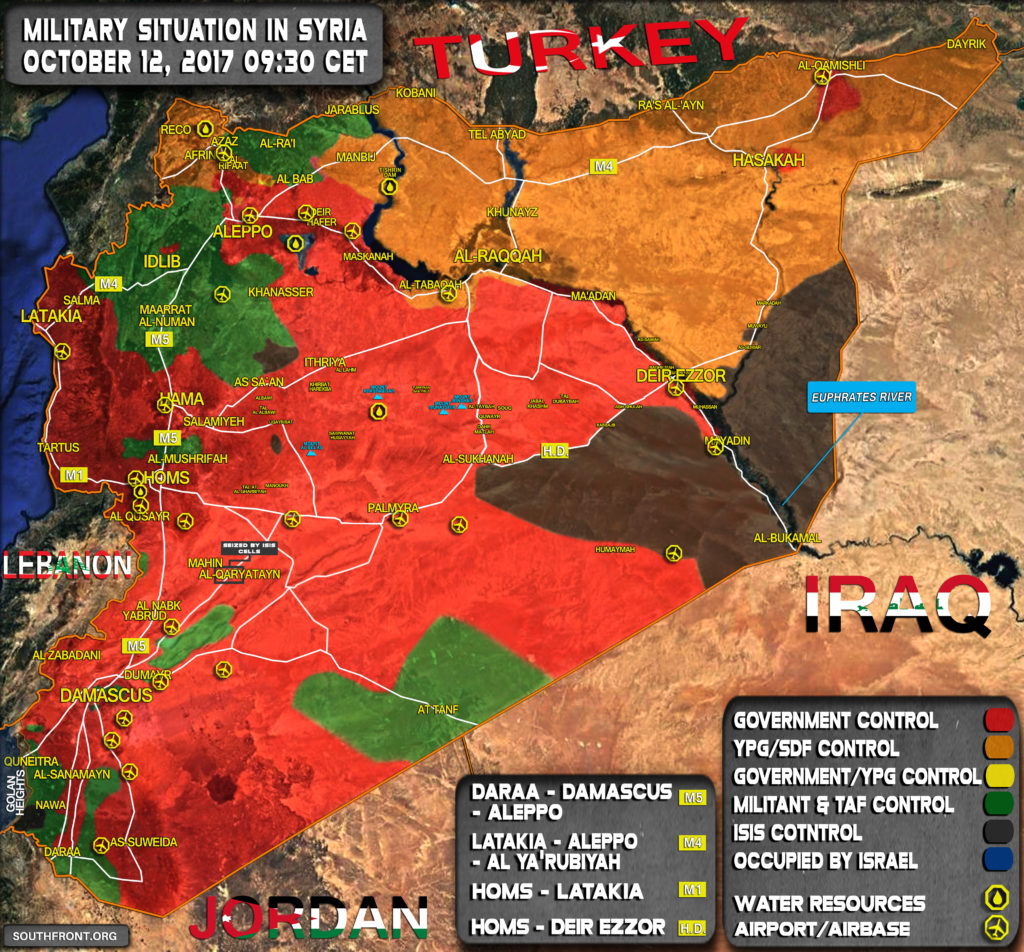 Military Situation In Syria On October 12, 2017 (Map Update)