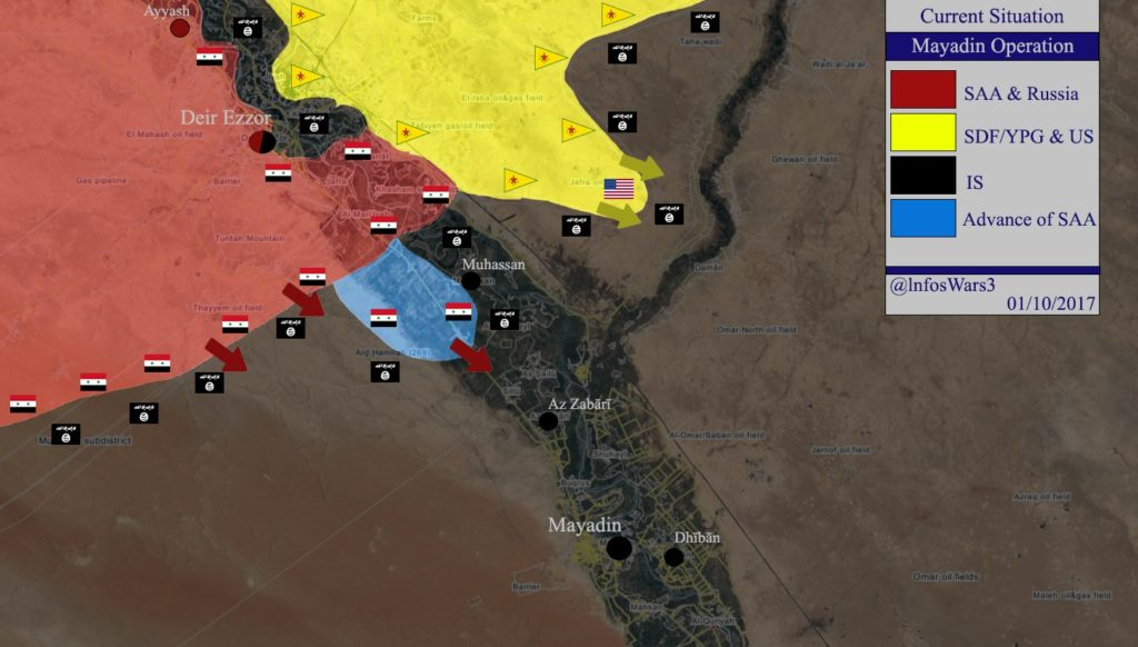 Syrian Army Advances Towards ISIS Stronghold Of Mayadin In Deir Ezzor Province (Map)