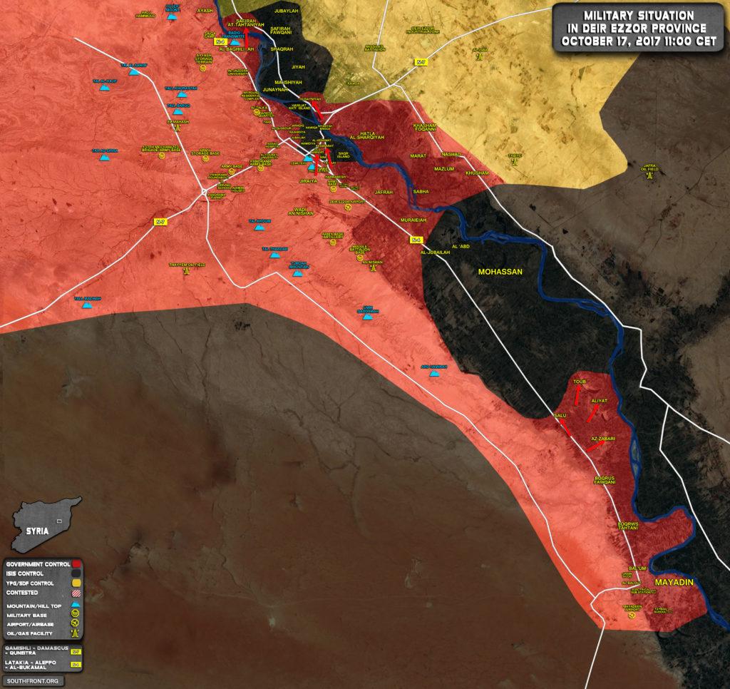 シリア陸軍、西ヨーロッパのユーフラテス川で前進、ISISはモハッサンから後退(地図)
