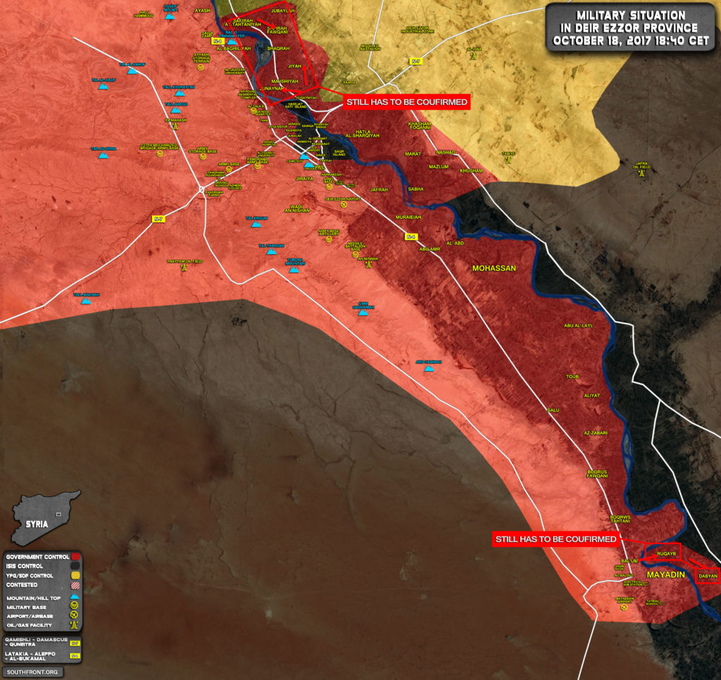 Syrian Government Forces Drive ISIS Out From More Areas In Deir Ezzor Countryside (Map)