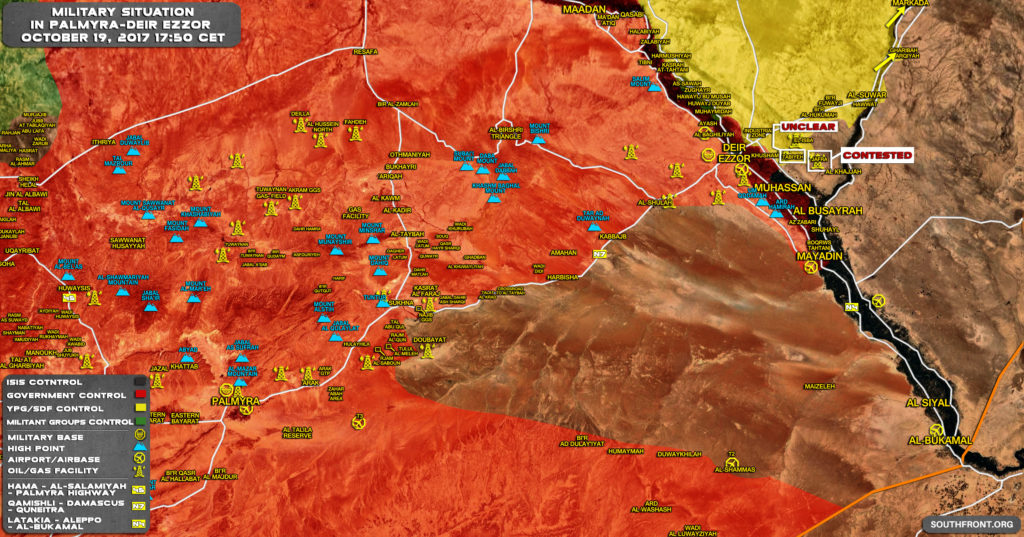 Military Situation In Central Syria On October 19, 2017 (Map Update)