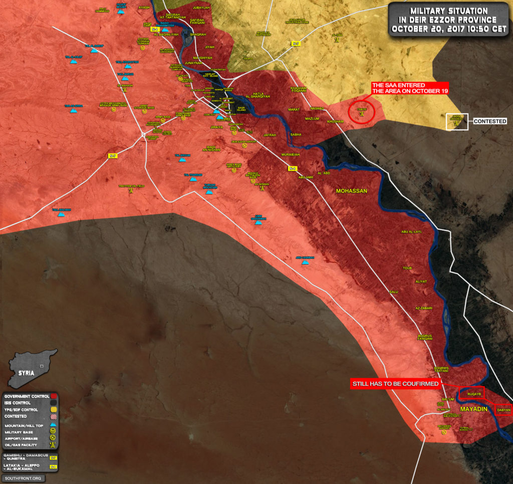 Syrian Army Clashes With ISIS Near Dabyan As SDF Advances East Of Jafra Oil Field - Reports