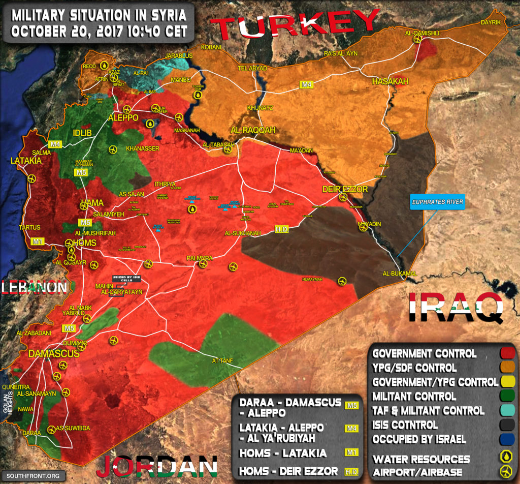 Military Situation In Syria On October 20, 2017 (Map Update)