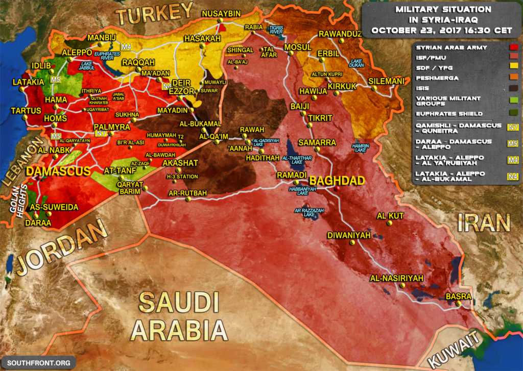 Military Situation In Syria And Iraq On October 23, 2017 (Map Update)