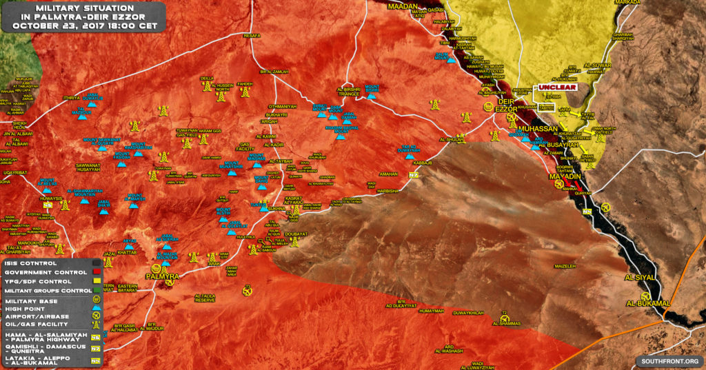Military Situation In Central Syria On October 23, 2017 (Map Update)