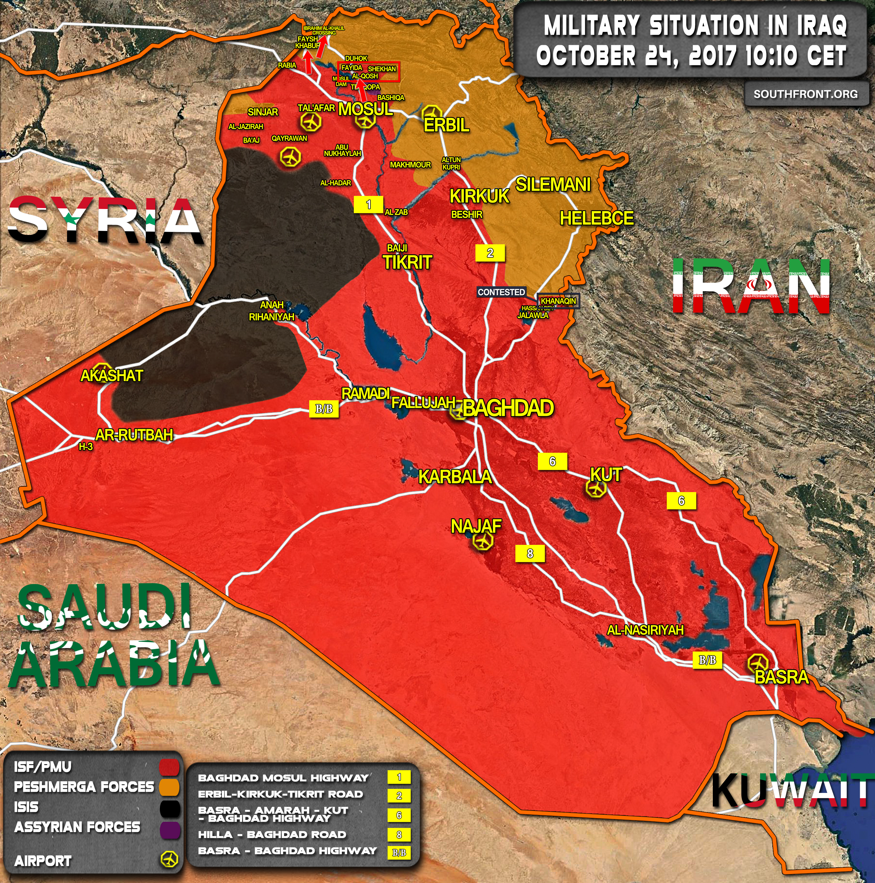 iraqi army advances on kurdistan regions border crossing with turkey map