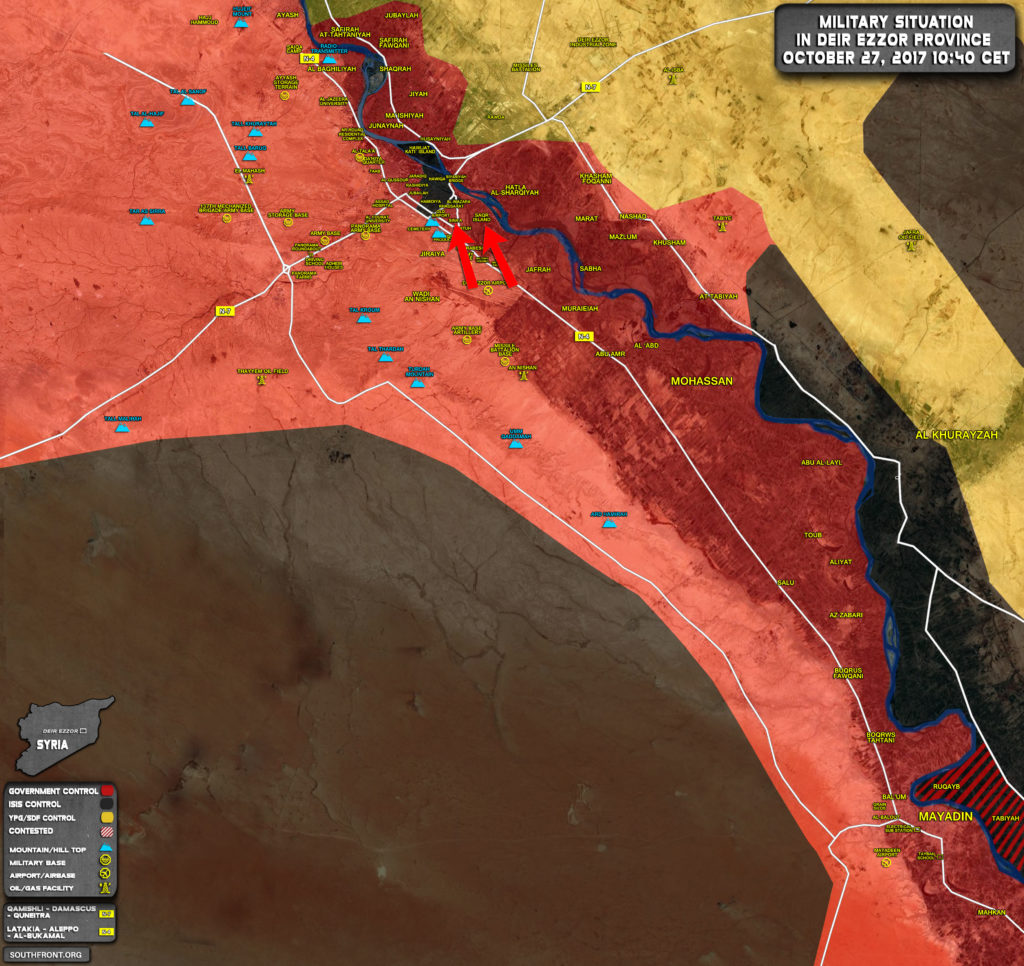 Military Situation In Syrian City Of Deir Ezzor On October 27, 2017 (Map Update)