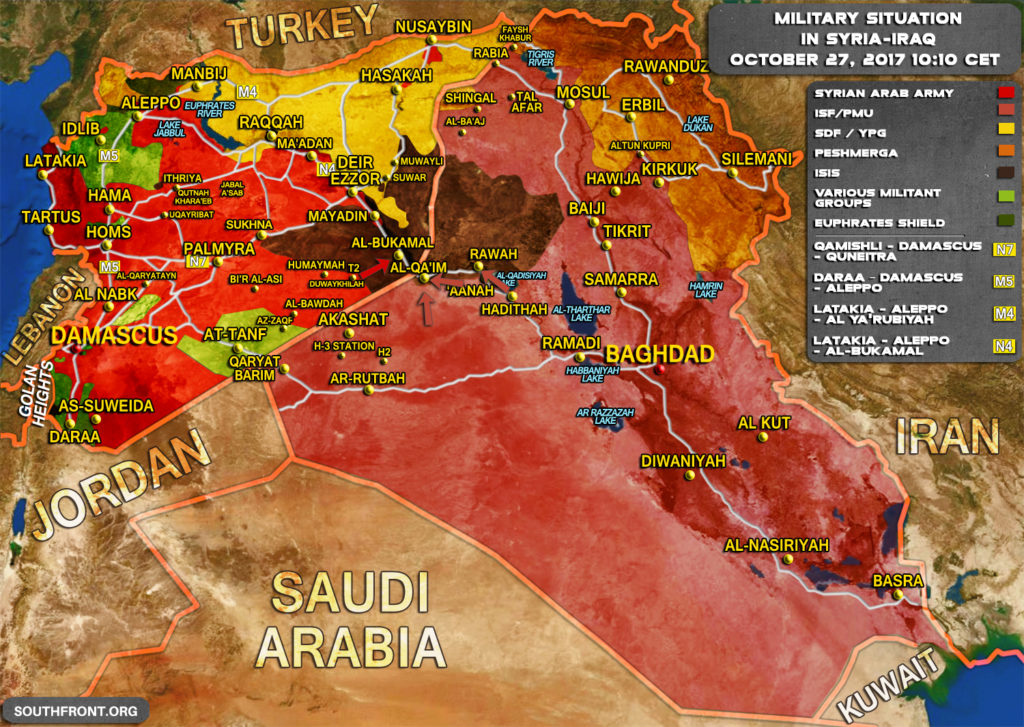 Military Situation In Syria And Iraq On October 27, 2017 (Map Update)