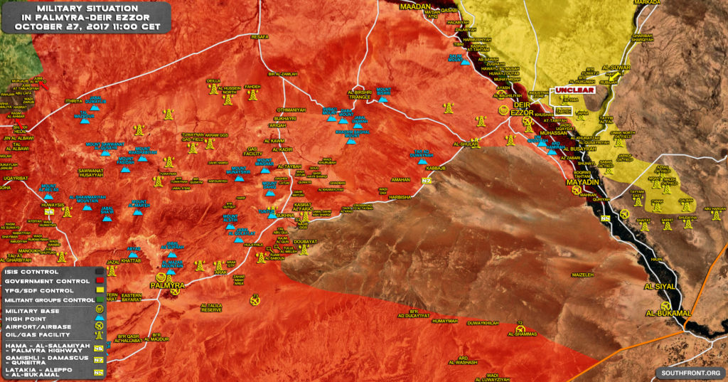 Military Situation In Central Syria On October 27, 2017 (Map Update)