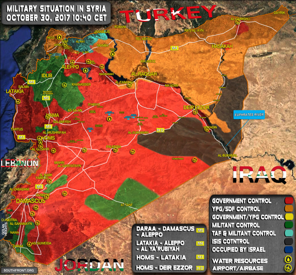 Military Situation In Syria On October 30, 2017 (Map Update)
