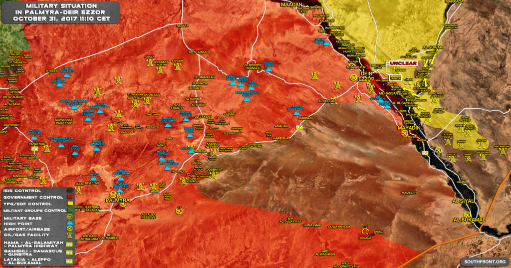 Military Situation In Central Syria On October 31, 2017 (Map Update)