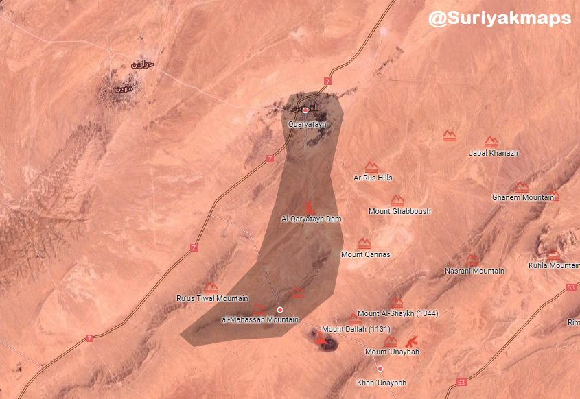 Syrian Government Forces Tighten Siege On ISIS-held City Of al-Qaryatayn (Maps)