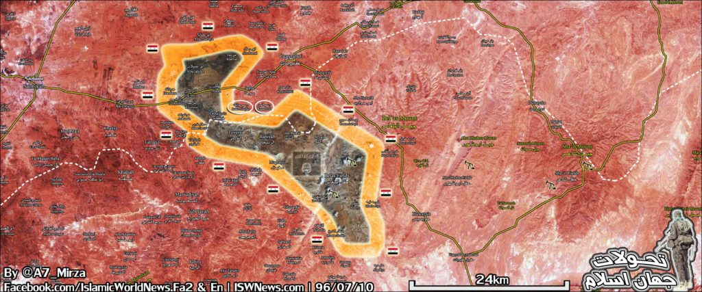 Military Situation In Eastern Salamiyah Pocket On October 2, 2017 (Syria Map)