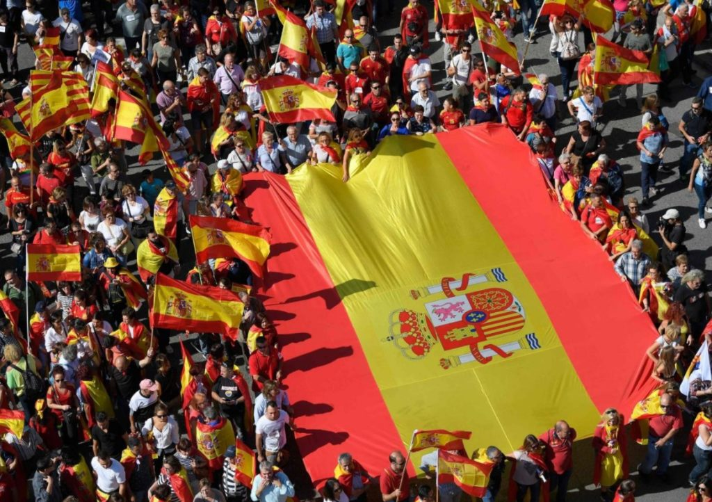 Thousands Of People Protest Catalonia's Secession From Spain In Barcelona