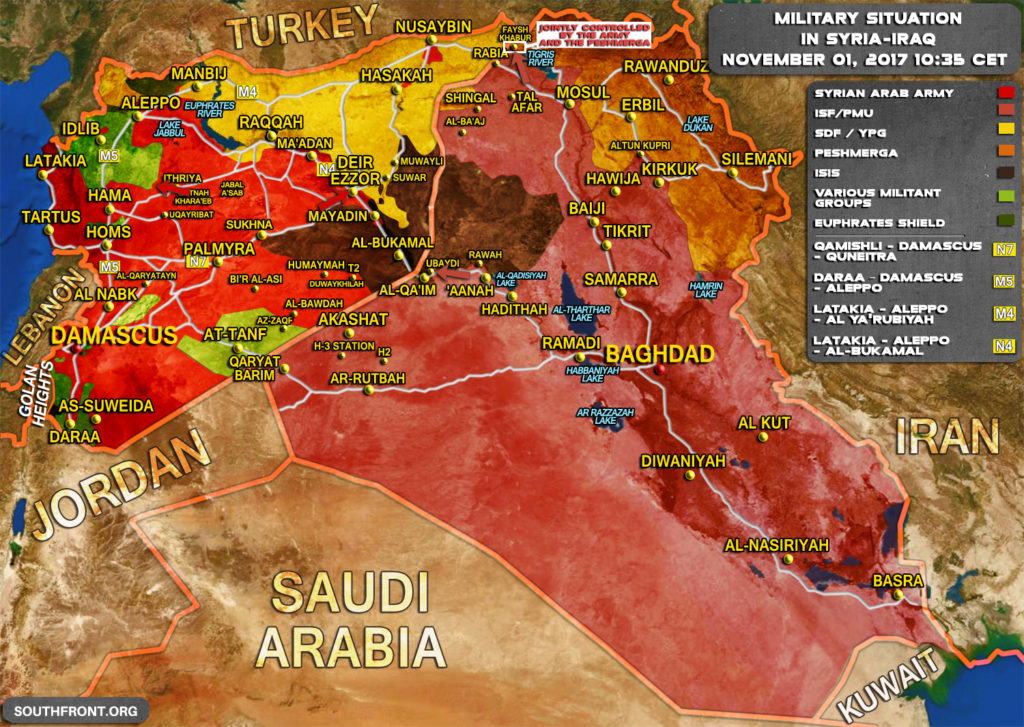 Military Situation In Syria And Iraq On November 1, 2017 (Map Update)