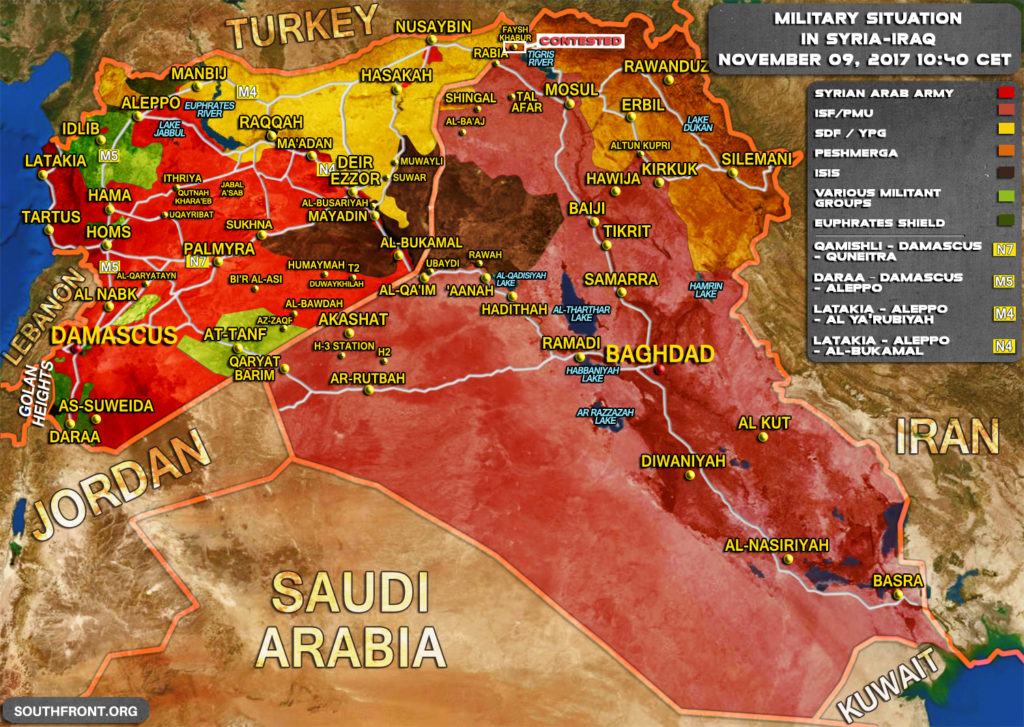 Military Situation In Syria And Iraq On November 9, 2017 (Map Update)
