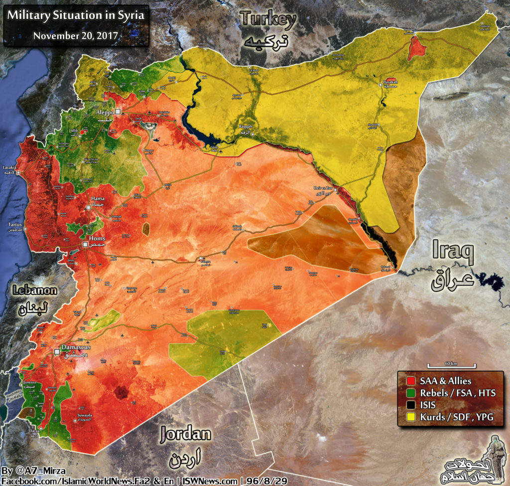 Map Comparison: Military Situation In Syria On November 20 And September 13, 2017