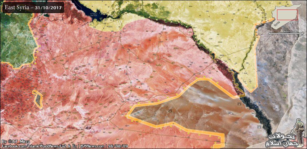 シリア陸軍、ヒズボラ、ISISが保有するアル・ブカマールの町を南西方向から推し進める(地図)