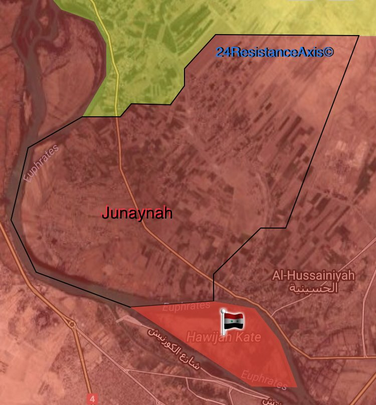 Syrian Army Secures Kati' Island North Of Deir Ezzor. 20 ISIS Members Surrender (Map)