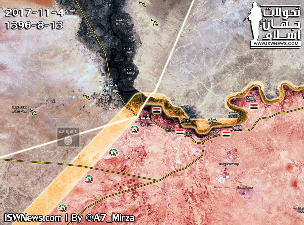 Military Situation In Al-Bukamal Area At Syrian-Iraqi Border On November 4, 2017 (Map)