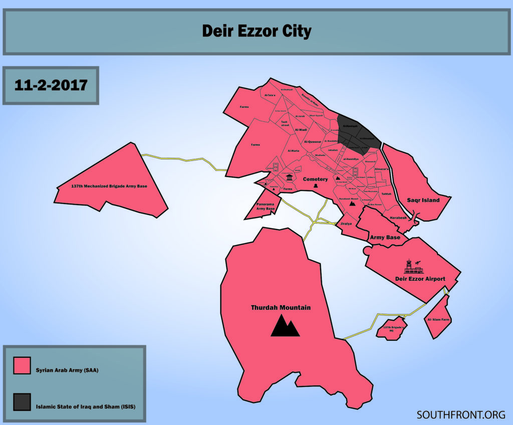 Map: Military Situation In Deir Ezzor City After Recent Advances Of Syrian Army