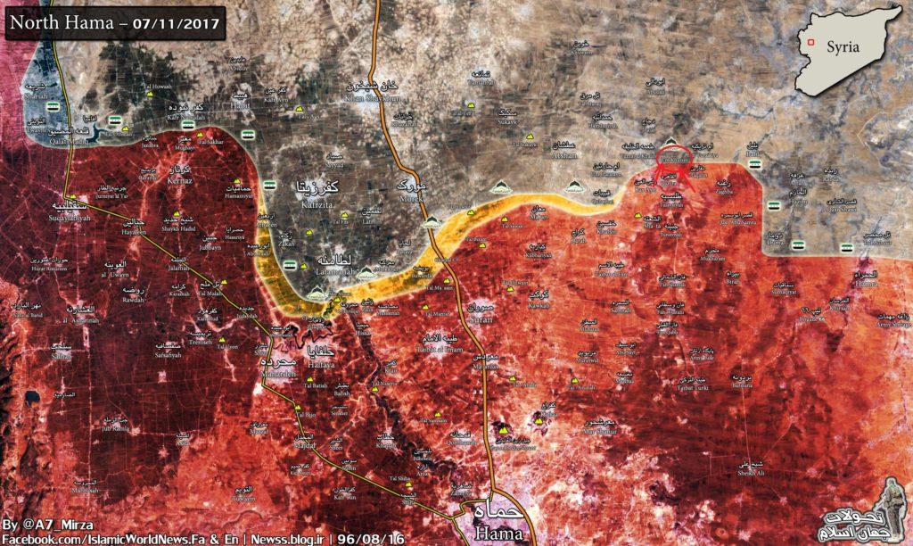 シリア軍、北部の浜で反撃武装勢力を強制的に撤収するUm Khazim(地図)