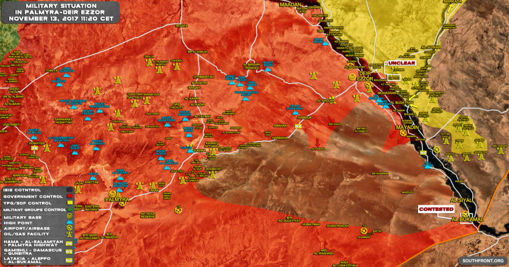 Syrian Army Resumes Operation Against ISIS South Of Mayadin, East Of Sukhna-Deir Ezzor Highway (Map)