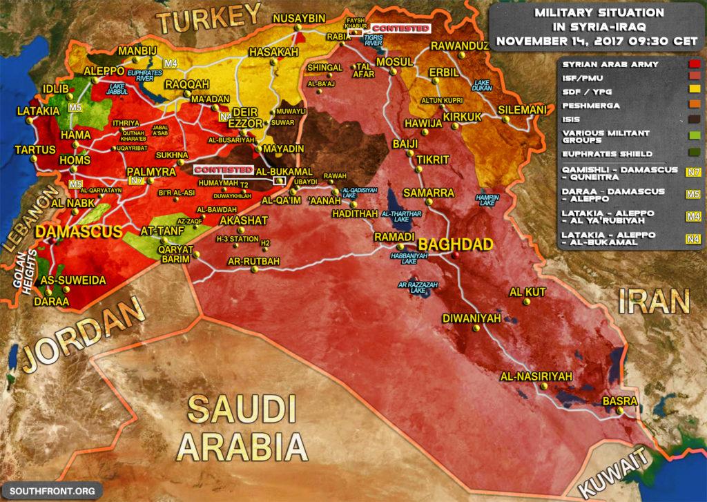 シリアとイラクでの軍事状況2017年11月14日(地図更新)