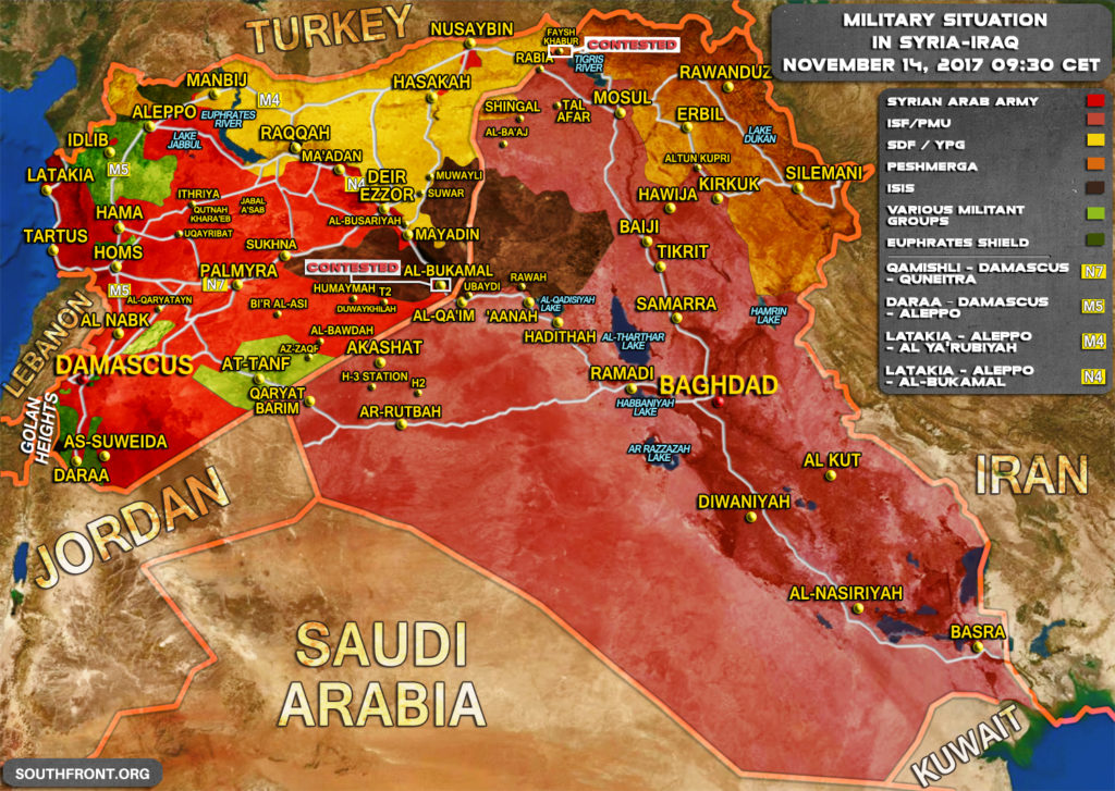 Military Situation In Syria And Iraq On November 14, 2017 (Map Update)