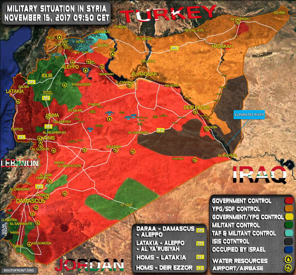 Military Situation In Syria On November 15, 2017 (Map Update)