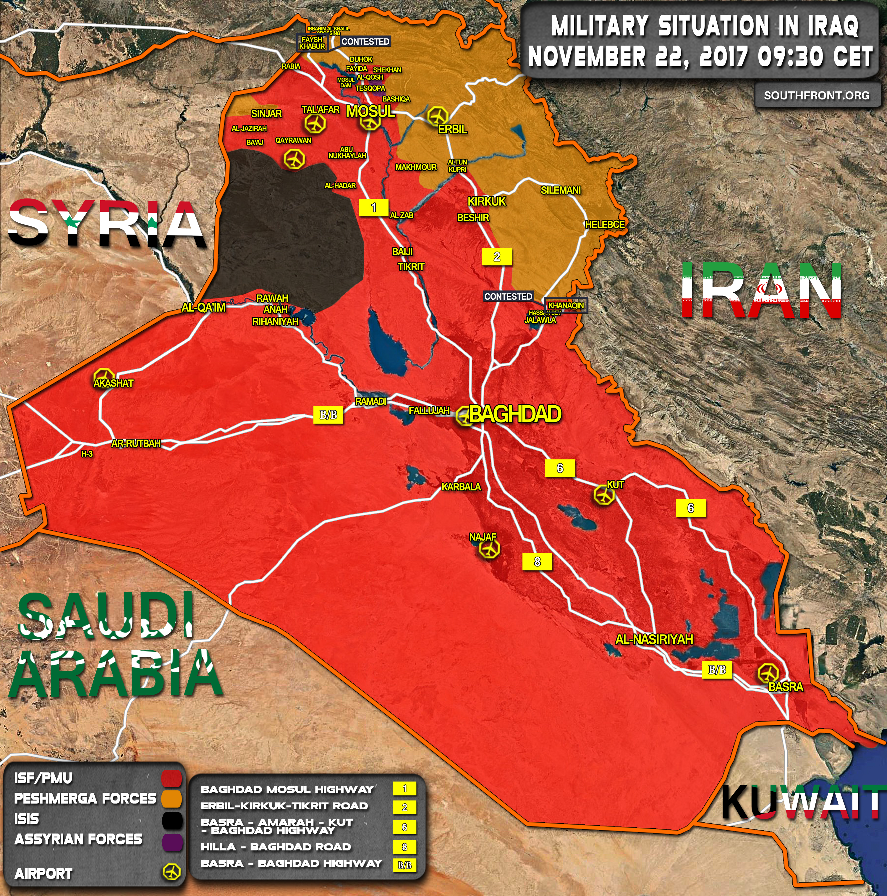 November 2017: Military Situation In Iraq On November 22, 2017 (Map Update