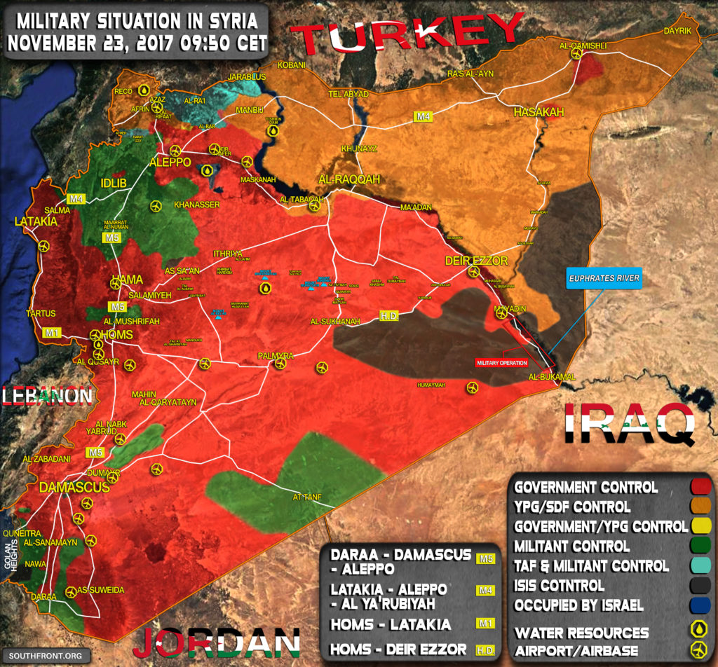 Military Situation In Syria On November 23, 2017 (Map Update)