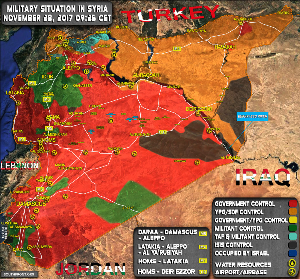 Military Situation In Syria On November 28, 2017 (Map Update)