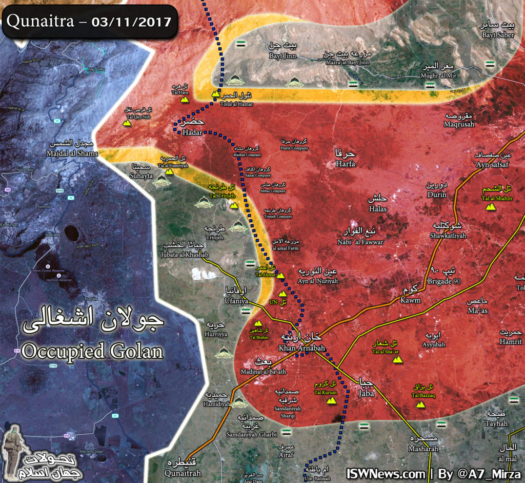 Map Update: Military Situation North Of Golan Heights After Syrian Forces Repelled Al-Qaeda Attack