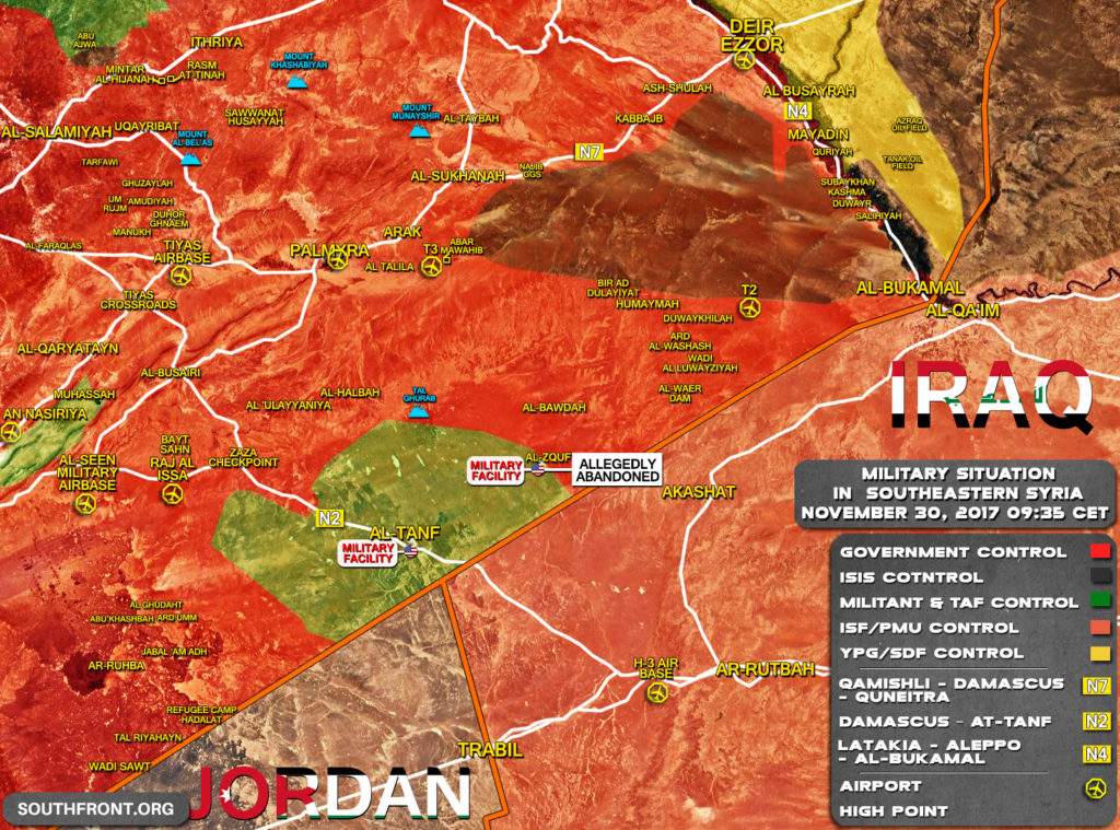 Military Situation In Southeastern Syria On November 30, 2017 (Map Update)