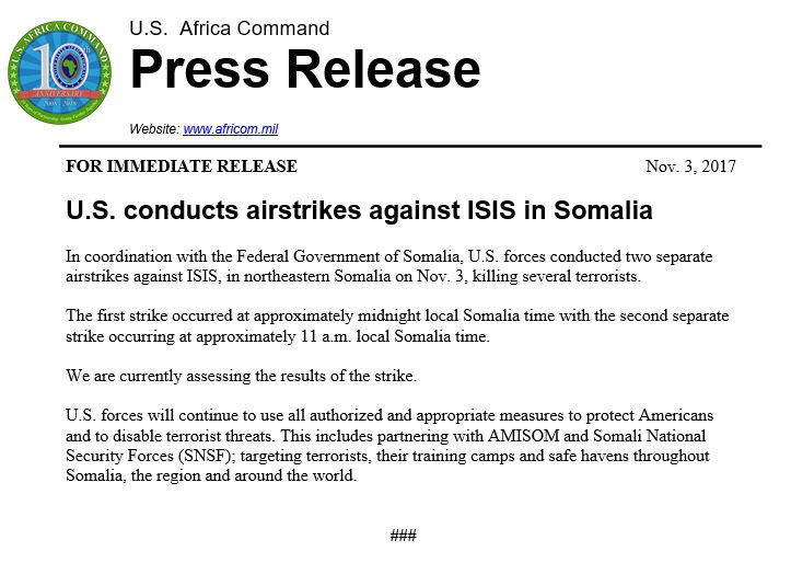 US Started Conducting Airstrikes Against ISIS In Somalia