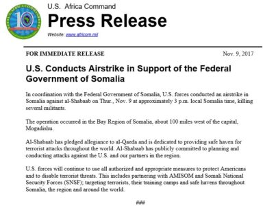 US Conducts New Airstrike On Al-Shabaab In Somalia as African Union De-facto Abandons Attempts To Defeat Group