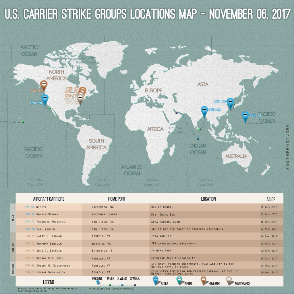 US Carrier Strike Groups Locations Map – November 6, 2017