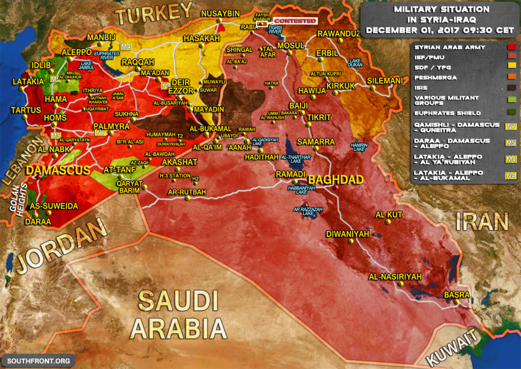 Military Situation In Syria And Iraq On December 1, 2017 (Map)