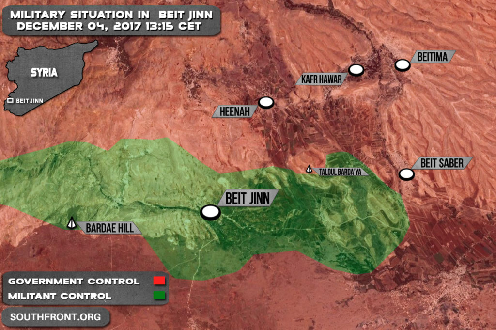 Military Situation In Beit Jinn Pocket In Southern Syria On December 4, 2017 (Syria Map Update)