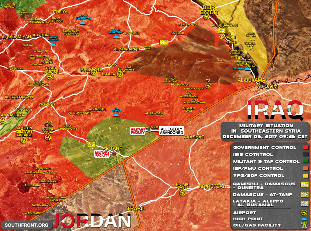 Military Situation In Southeastern Syria On December 5, 2017 (Map Update)