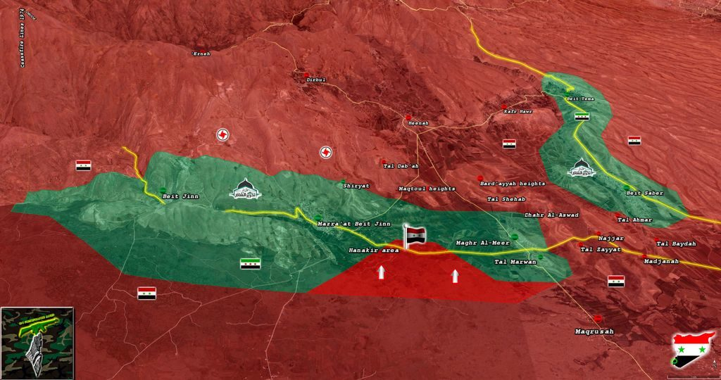 Syrian Troops Cut Off Road Between Militant-held Towns Of Beit Jinn And Mughr al-Mir (Map)