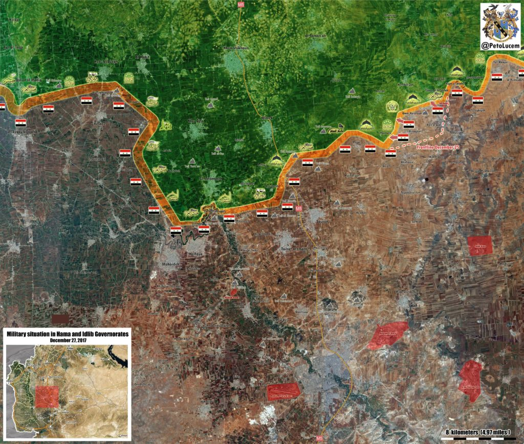 Military Situation In Syria's Northern Hama On December 27, 2017 (Map Update)