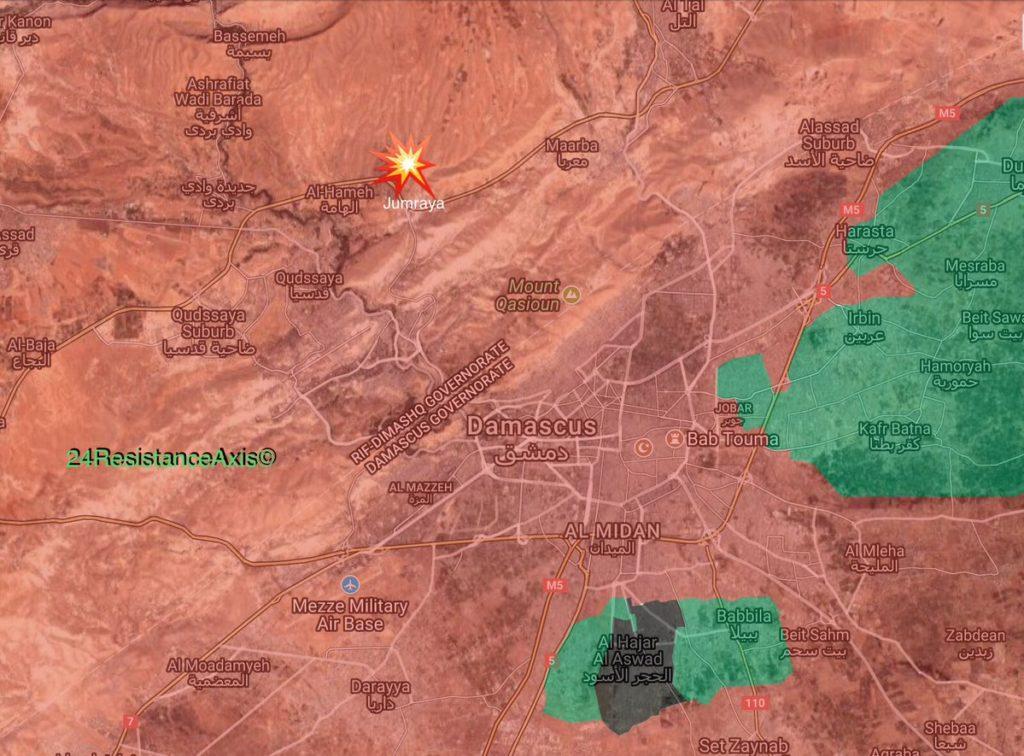 Israeli Warplanes Launch Missiles On Scientific Research Center In Northern Damascus (Maps, Videos)