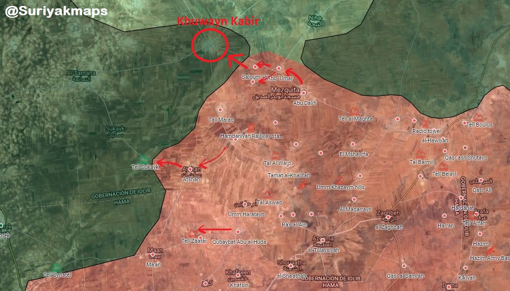 Forces Enter Khuwayn Kabir In Southern Idlib Map