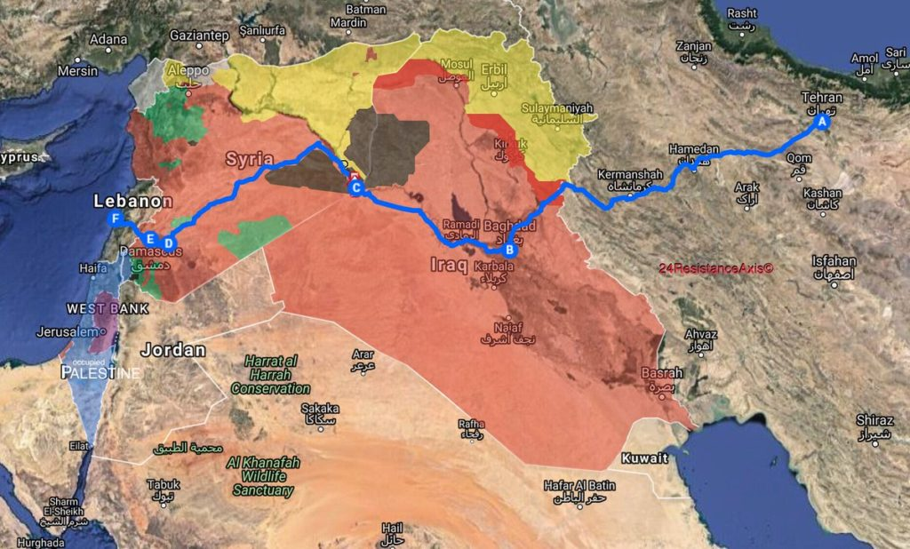 Map Update: Iran Establishes Major Land Route From Tehran To Lebanon's Beirut